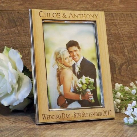Personalised Wedding Day Photo Frame Silver Plated with Oak Wood Veneer